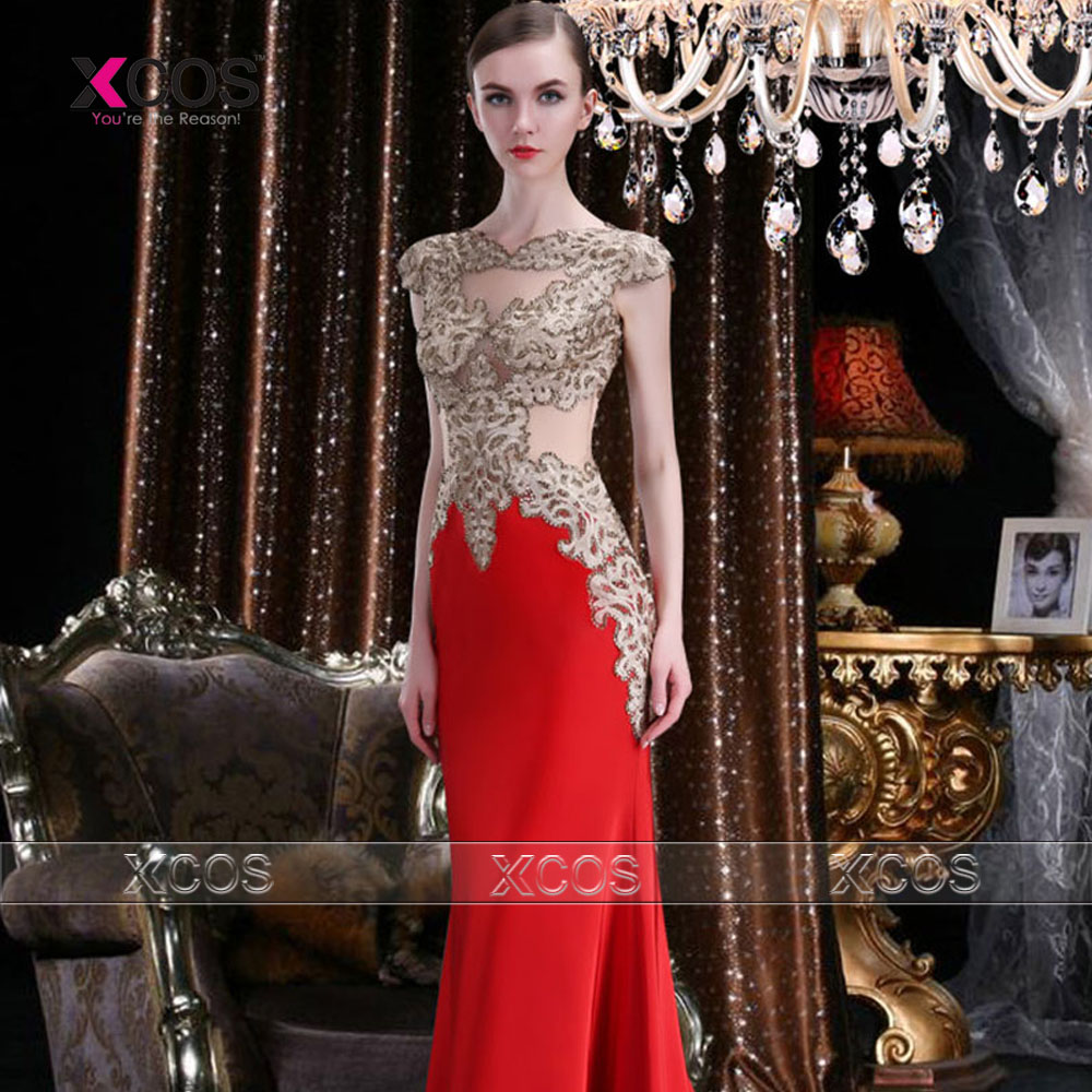 Sexy Long Red Evening Dress Gold Lace Appliques Engagement Prom